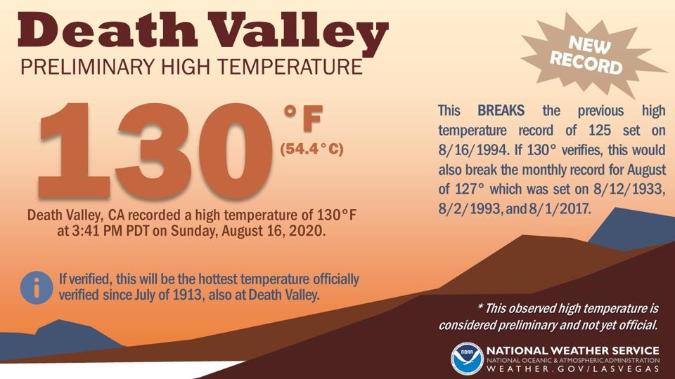 Death Valley record high 130