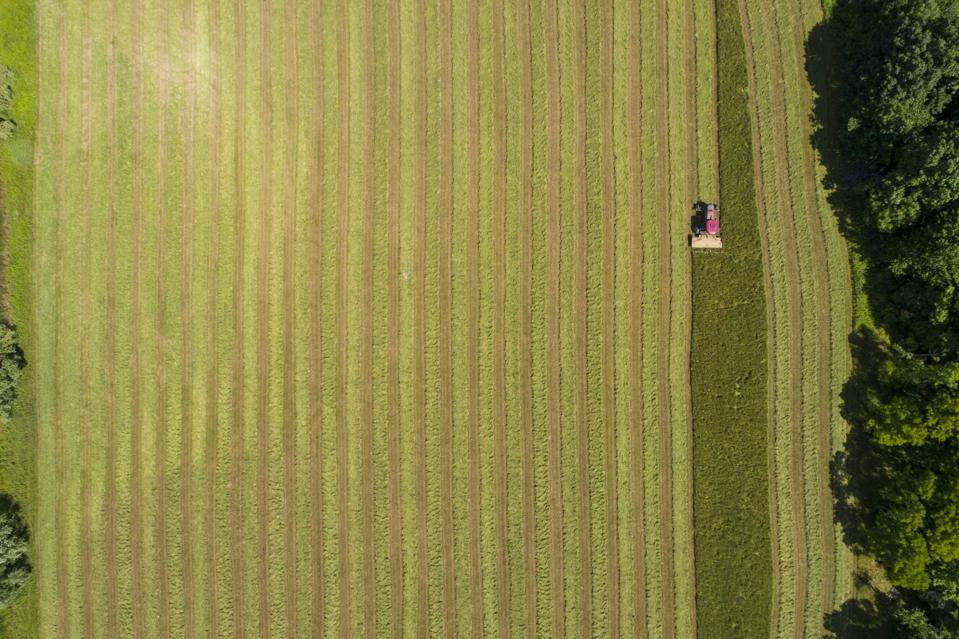 Drone Aerial of Tractor Cutting Hay