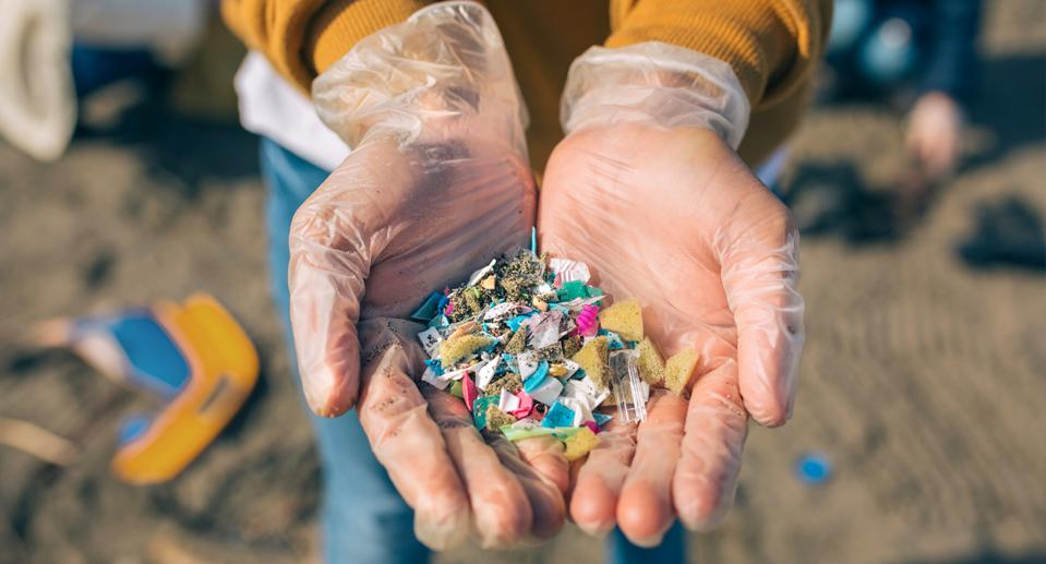 Microplastics come from a variety of sources, such as plastic fibers from synthetic textiles