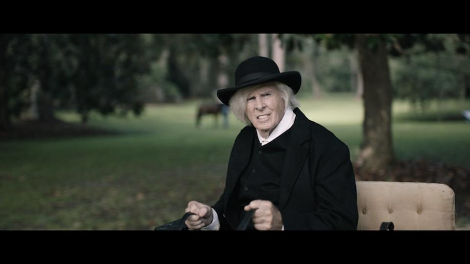 Bruce Dern as abolitionist Levi Coffin who helps secure the freedom of Shields Green's son.