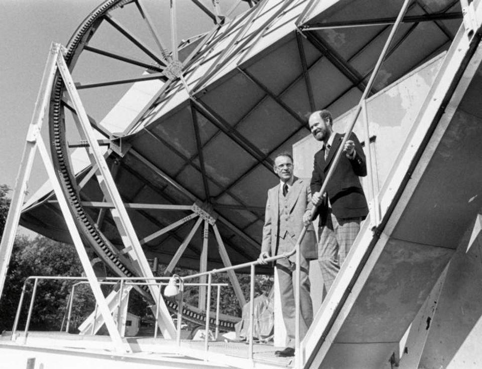 Arno Penzias and Bob Wilson at the location of the Holmdel Horn Antenna.