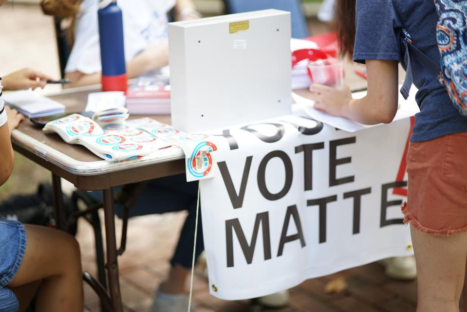 Voter registration tabling at the University of Pennsylvania.