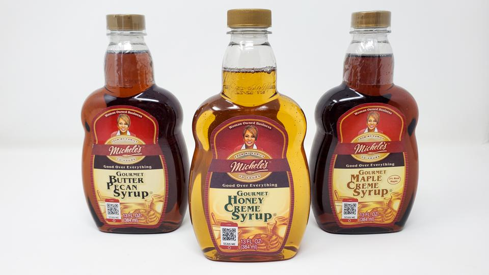 michele foods syrup bottles on white background