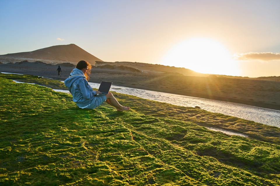 Woman sits alone on the rocks with colorful seaweed working with a notebook at the beach