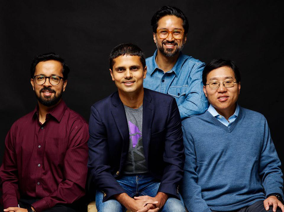 Moveworks founding team from left to right Vaibhav Nivargi, CTO; Bhavin Shah, CEO; Varun Singh, VP of Product; Jiang Chen, VP of Machine Learning.