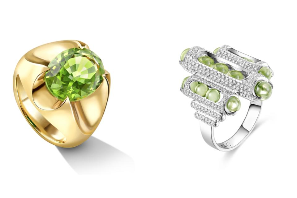 Liv Lutrell's Spear Tip ring is architectural and sculptural, featuring a 3.95-carat peridot set in yellow gold, and Zeemou Zeng uses peridot beads in his Melody ring, which roll back and forth in a white gold and diamond setting.