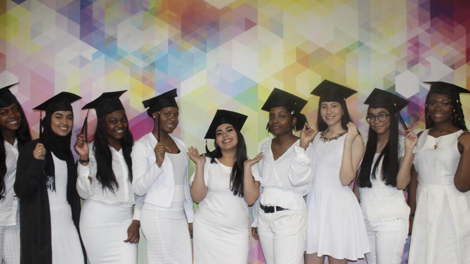 Young women graduating