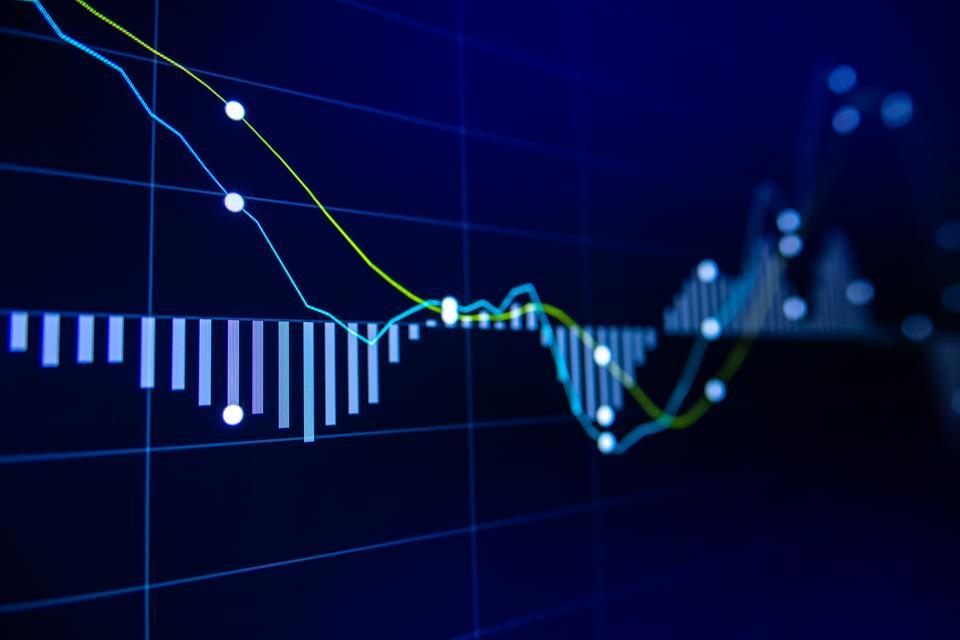 Grafik pasaran pertukaran saham di skrin LED