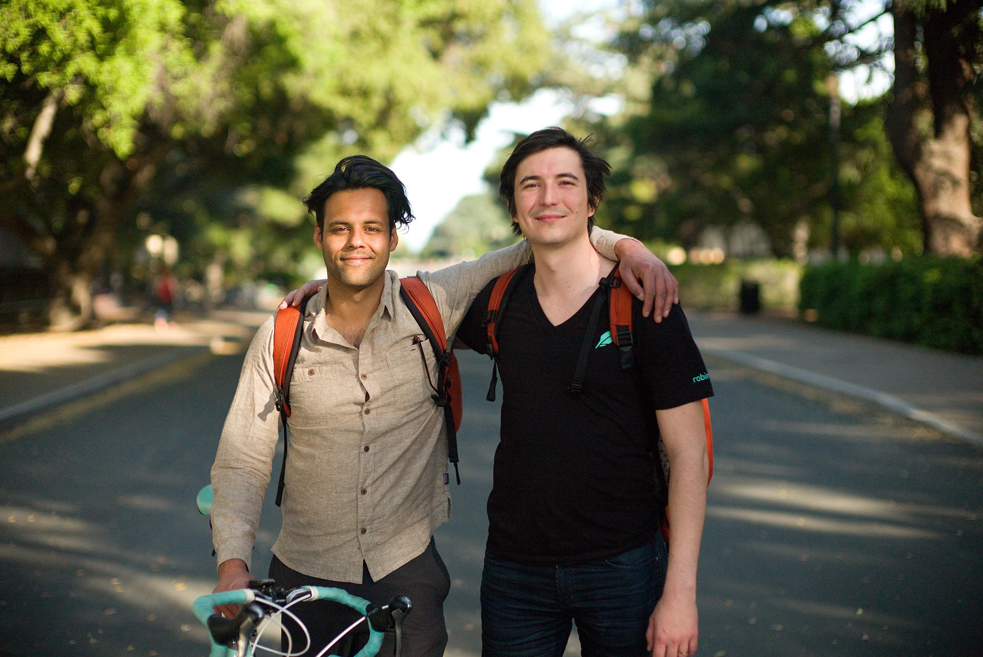 The physics of amateur trading: Baiju Bhatt (left) and Vladimir Tenev met as physics students at Stanford. Even the best modeling could not have predicted that $1,200 stimulus checks would propel them to billionaire status.