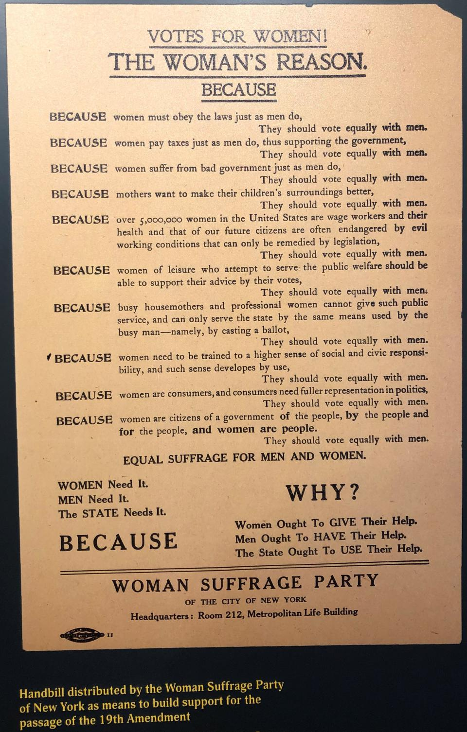 Display of handbill about why women need the right to vote, at Lucy Burns Museum