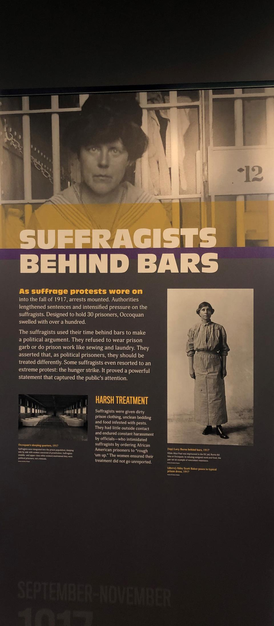 Display on jailed suffragists, Lucy Burns Museum