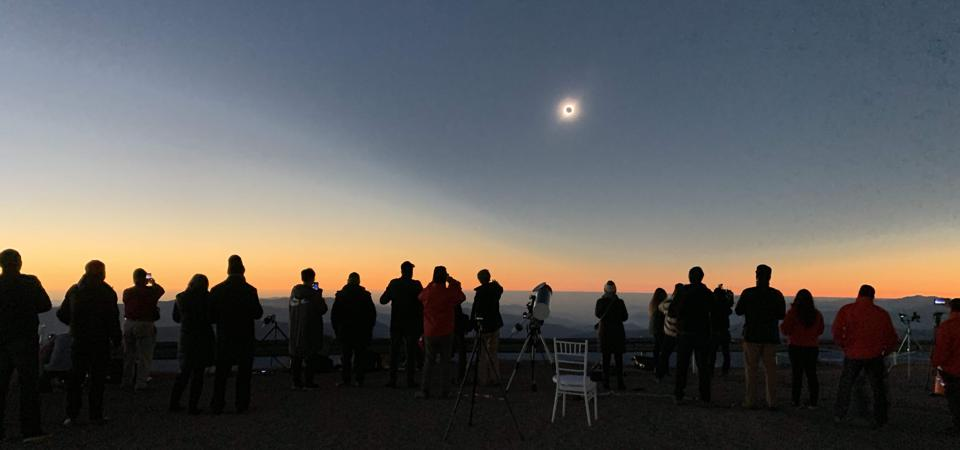 A total solar eclipse from Carro Pachon—hone of the VRO—on July 2, 2019.