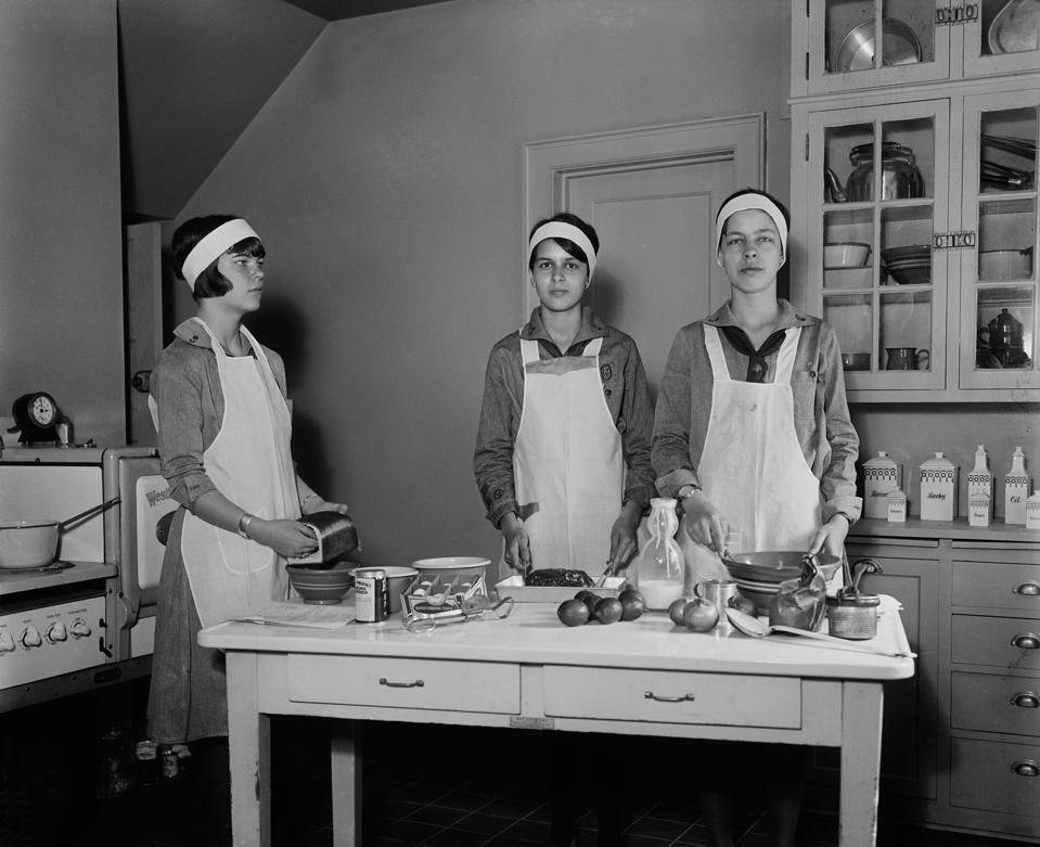 Girl Scouts Preparing Food in Kitchen, Harris & Ewing, 1931