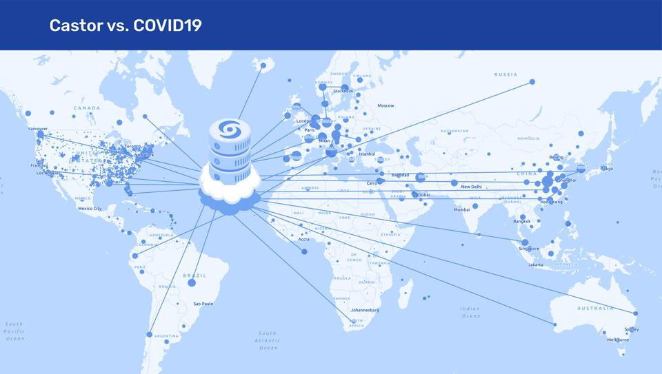 More than 200 Covid-19 projects across 33 countries are currently using Castor.