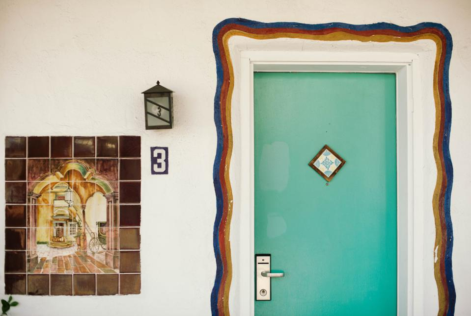 A turquoise door at a motel in Santa Fe, New Mexico.