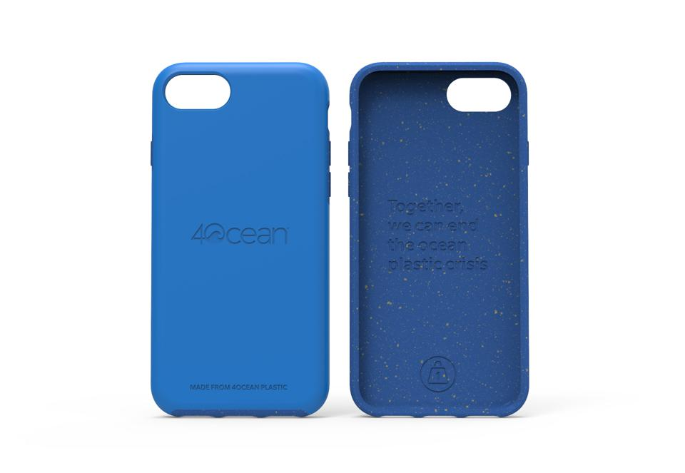 A mockup of a phone case that will be made with 100% 4ocean plastic