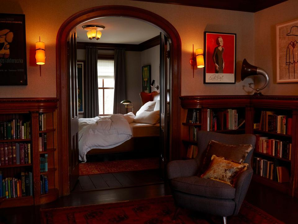 The Writer guest room at The Maker Hotel in Hudson, NY.