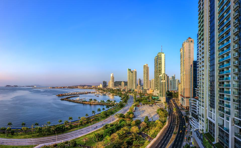 High angle view of Panama City skyline in the early morning - Panama City, Panama. Central America