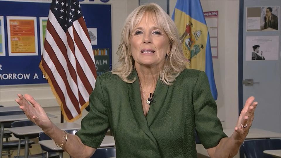 Jill Biden speaks to the delegates by livestream during the Democratic Convention.