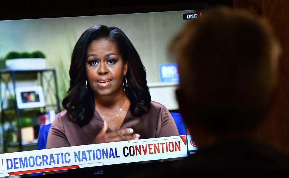 Michelle Obama livestreams to the delegates at the virtual, digital Democratic Convention.