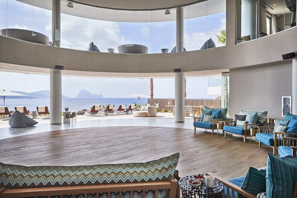Yoga Studio with a view on the sea and Es Vedra at 7 Pines Spa at the Kempinsi 7 Pines Hotel Ibiza