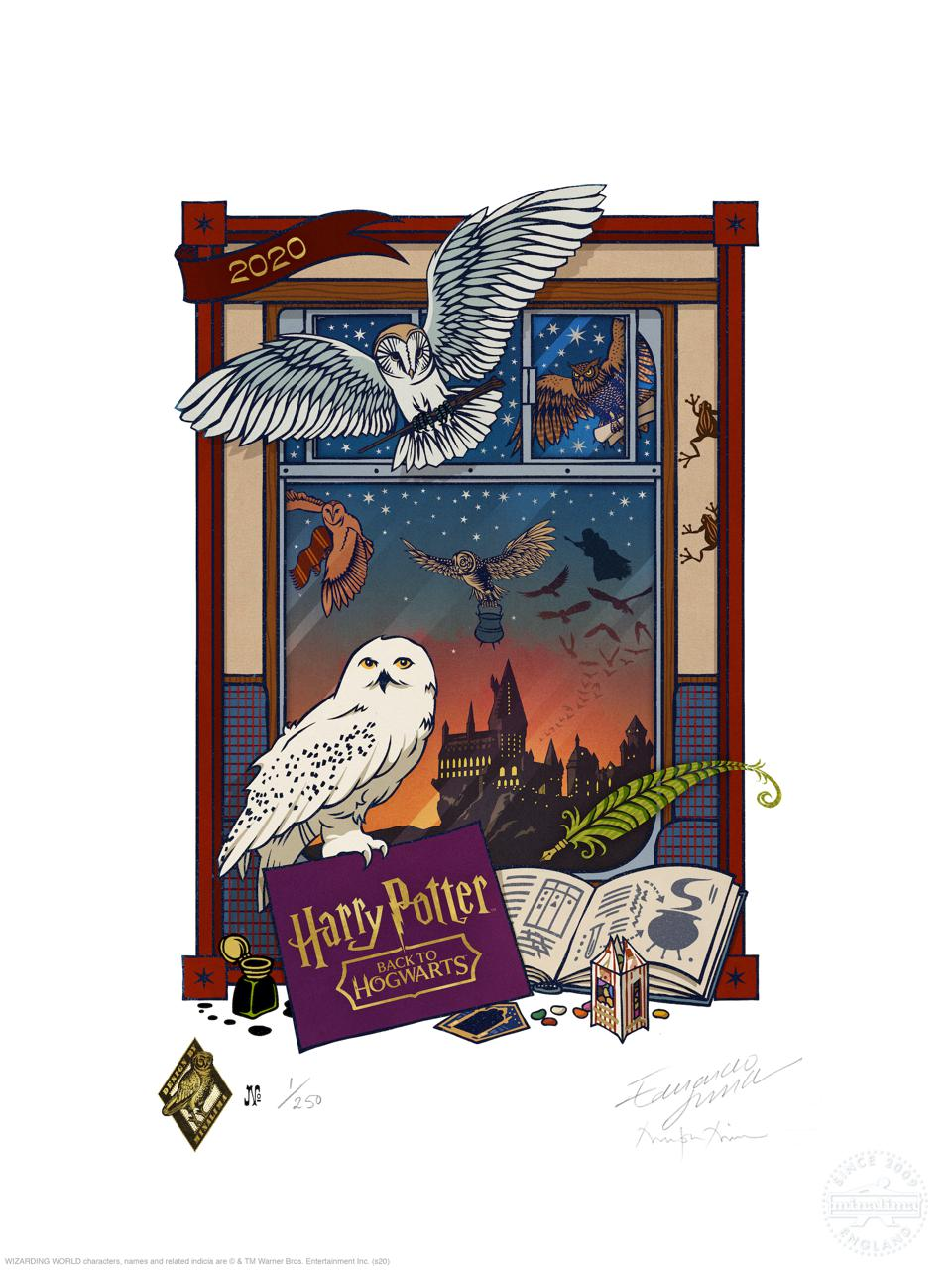 Harry Potter print designed by MinaLima to celebrate the first virtual Back to Hogwarts.