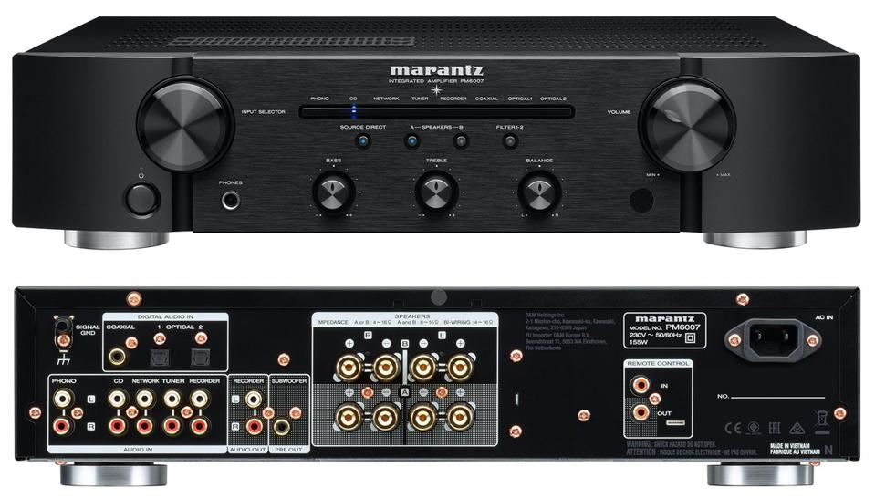 Front and back view of Marantz PM6007 integrated amplifier