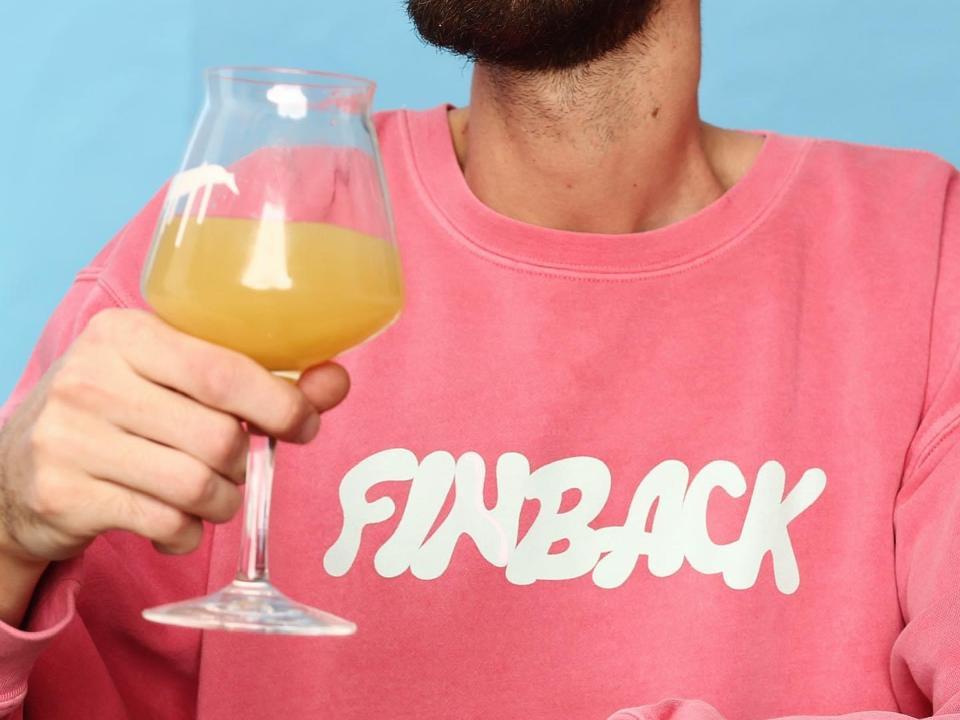 Finback sweatshirt and beer