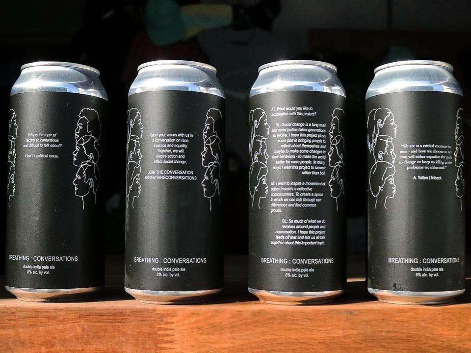 Cans of Finback Brewery's Breathing: Conversations beer