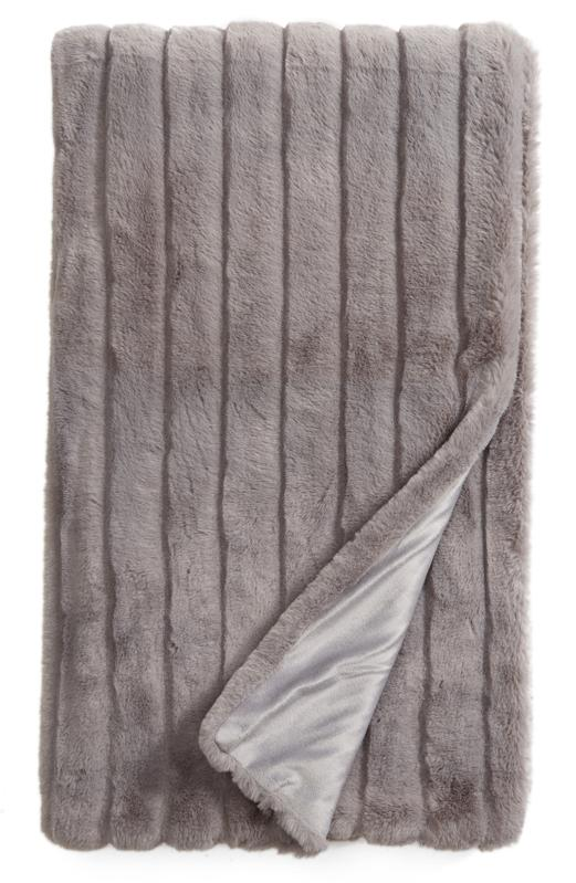 Nordstrom at Home Sheared Stripe Faux Fur Throw