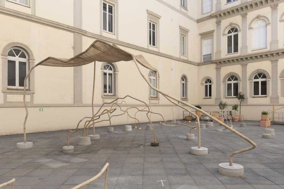 A view of ″You will play in the everyday, running″ in the courtyard of the Madre Museum in Naples