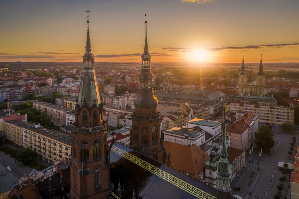 Aerial drone view of the Cathedral of St. Peter and Paul the Apostles and the Old Town district, in Kraków, Poland.