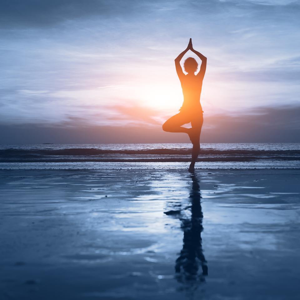 blue yoga background