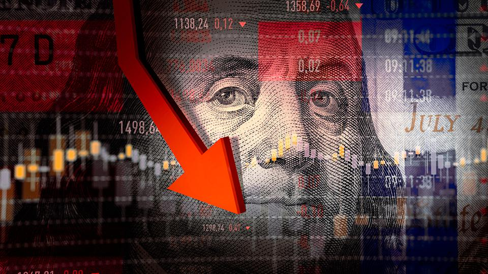 Image of Ben Franklin on the dollar with stock market data and an arrow pointing down.