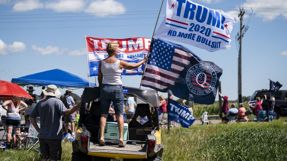 Protests Held In Minnesota Where President Trump Speaks On Jobs And Economic Issues
