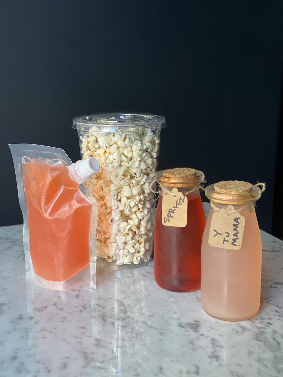 Drinks and popcorn to go