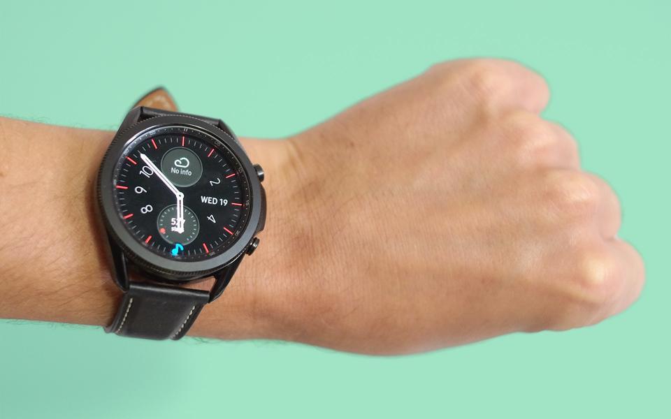 The Galaxy Watch 3 worn on the wrist.