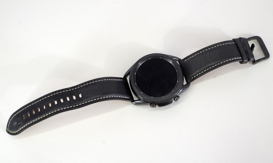 The Galaxy Watch 3 photographed from above.