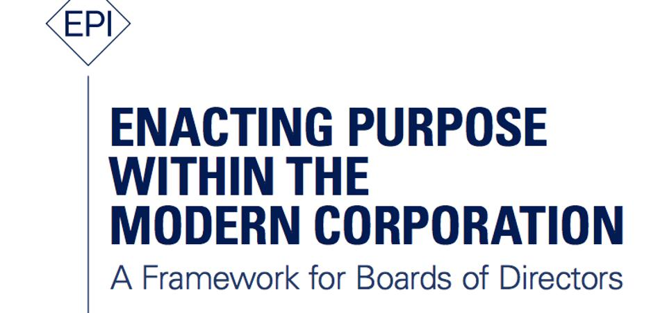 Cover Page of the Report of the EU Steering Group of the Enacting Purpose Initiative