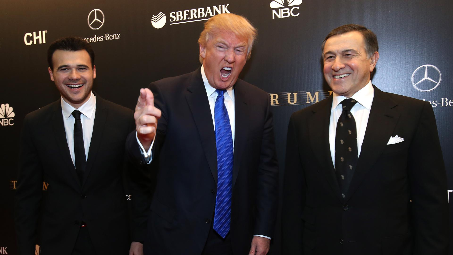 Crocus Group president Aras Agalarov (R), vice president Emin Agalarov (L), and American business magnate Donald Trump (C) arrive for the Miss Universe 2013 beauty pageant final at Crocus City Hall.