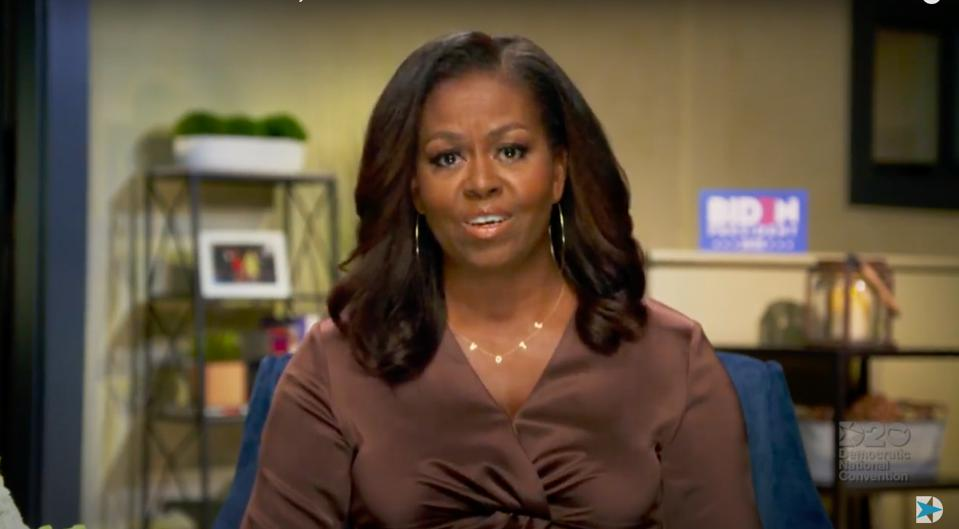 Michelle Obama wears BYCHARI's 'vote' necklace at Monday night's  DNC.