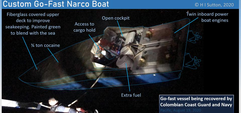 Colombian Coast Guard and Navy recovered a customized go-fast loaded with illegal drugs on August 19.