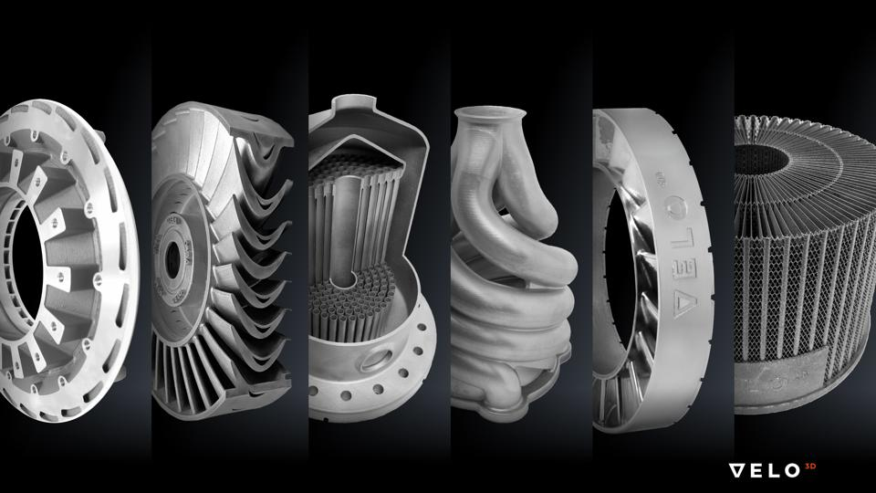 Various shapes created with metal 3-D printing