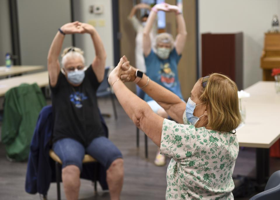 Senior Exercise Class During Coronavirus Outbreak In Pennsylvania