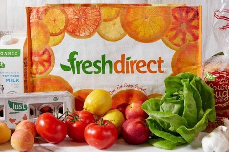 freshdirect grocery bag, groceries