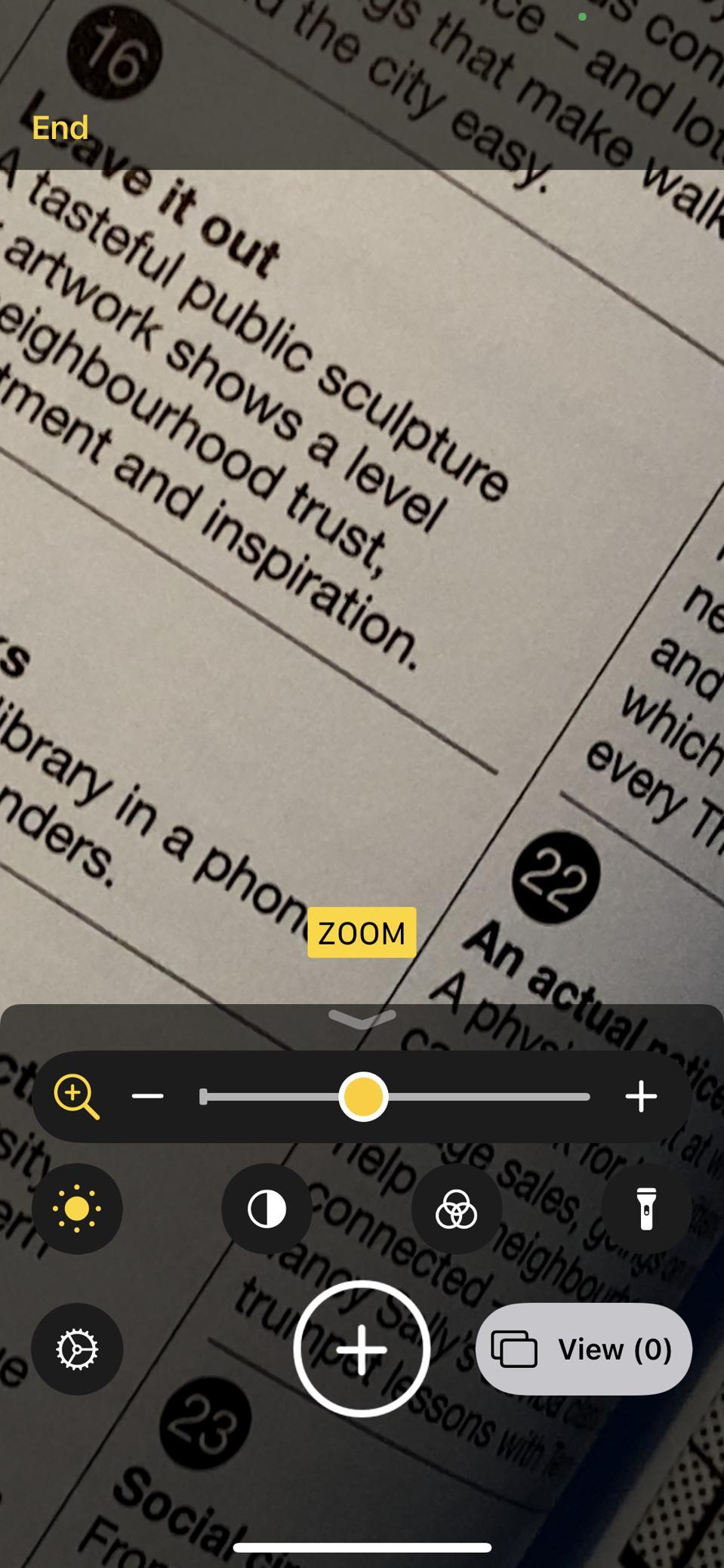 A view through the Magnifier lens in iOS 14.
