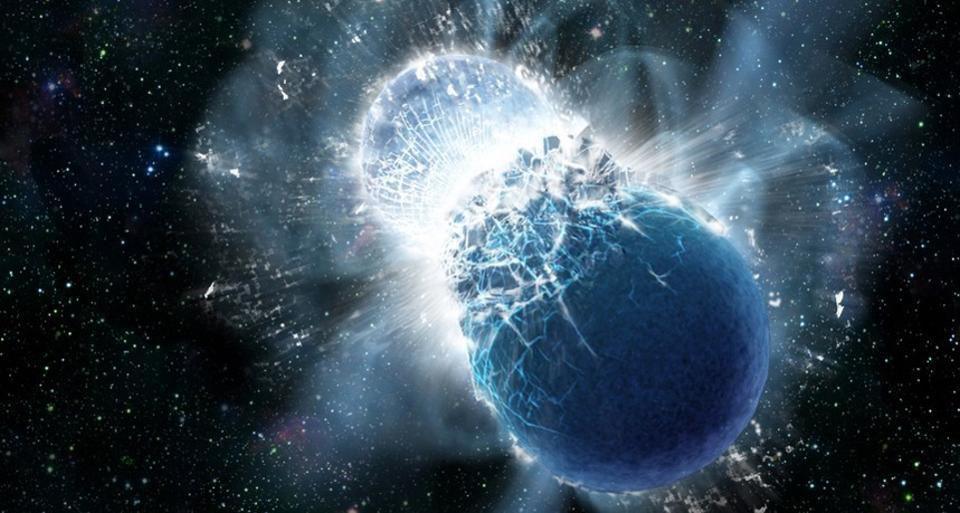 An illustration of merging neutron stars, which can create a kilonova explosion.