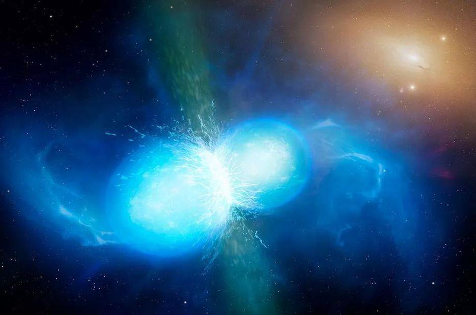 The final moments of the merger of two neutron stars.