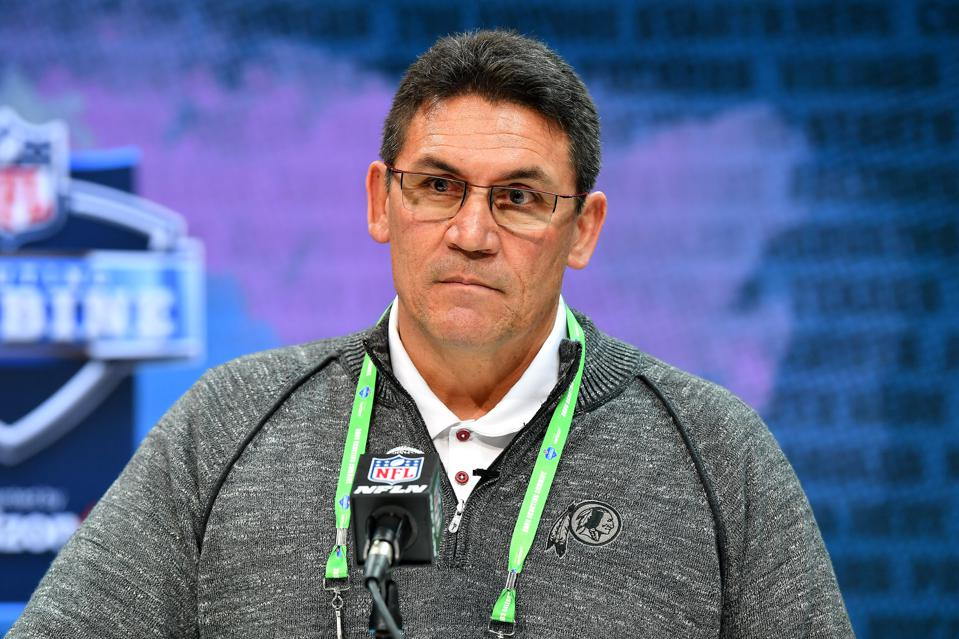Head coach Ron Rivera of the Washington Redskins interviews during the second day of the 2020 NFL Scouting Combine at Lucas Oil Stadium on February 26, 2020 in Indianapolis, Indiana.
