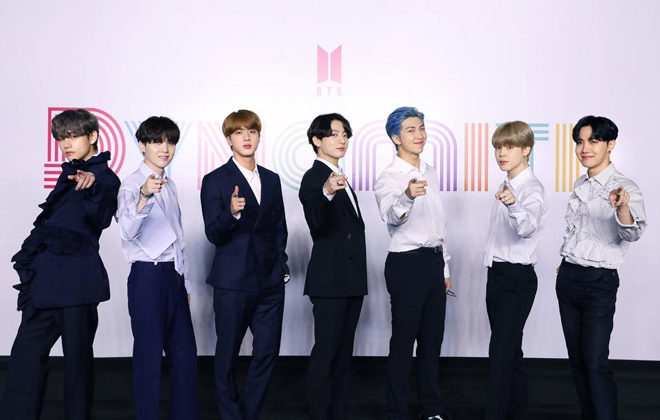 Photo of BTS pointing at the camera in front of a colored sign reading ″DYNAMITE″